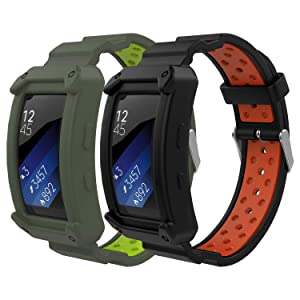 MoKo Band Compatible with Samsung Gear Fit2 / Gear Fit2 Pro, [2-PACK] Soft Silicone Replacement Sport Band for Gear Fit 2 SM-R360 / Fit 2 Pro Smart Watch - Black & Red + Gray & Green