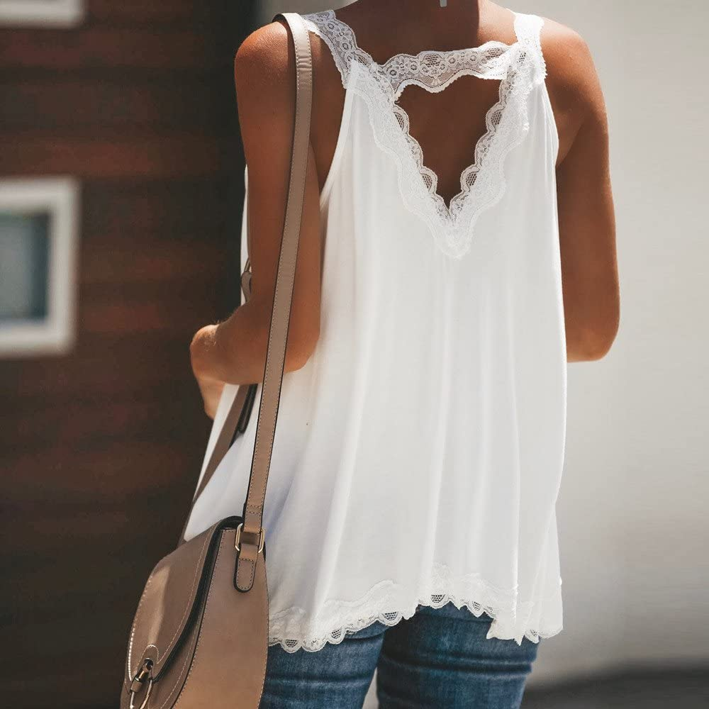KYLEON Womens Tops Sleeveless Lace Solid Color Loose Casual Summer Patchwork Vest Blouse Tank Tunics T-Shirts Camisole