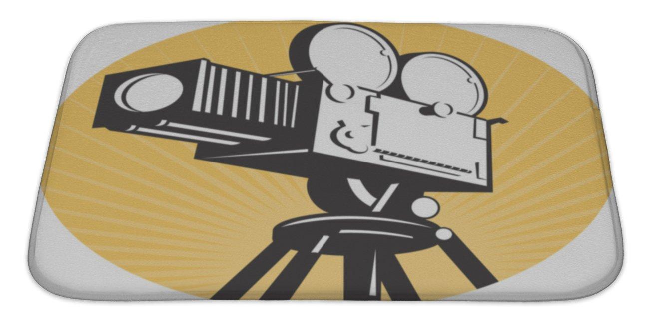 Gear New No Slip Microfiber Memory Foam Vintage Movie Film Camera Retro Style Bath Rug Mat, 34'' X 21''