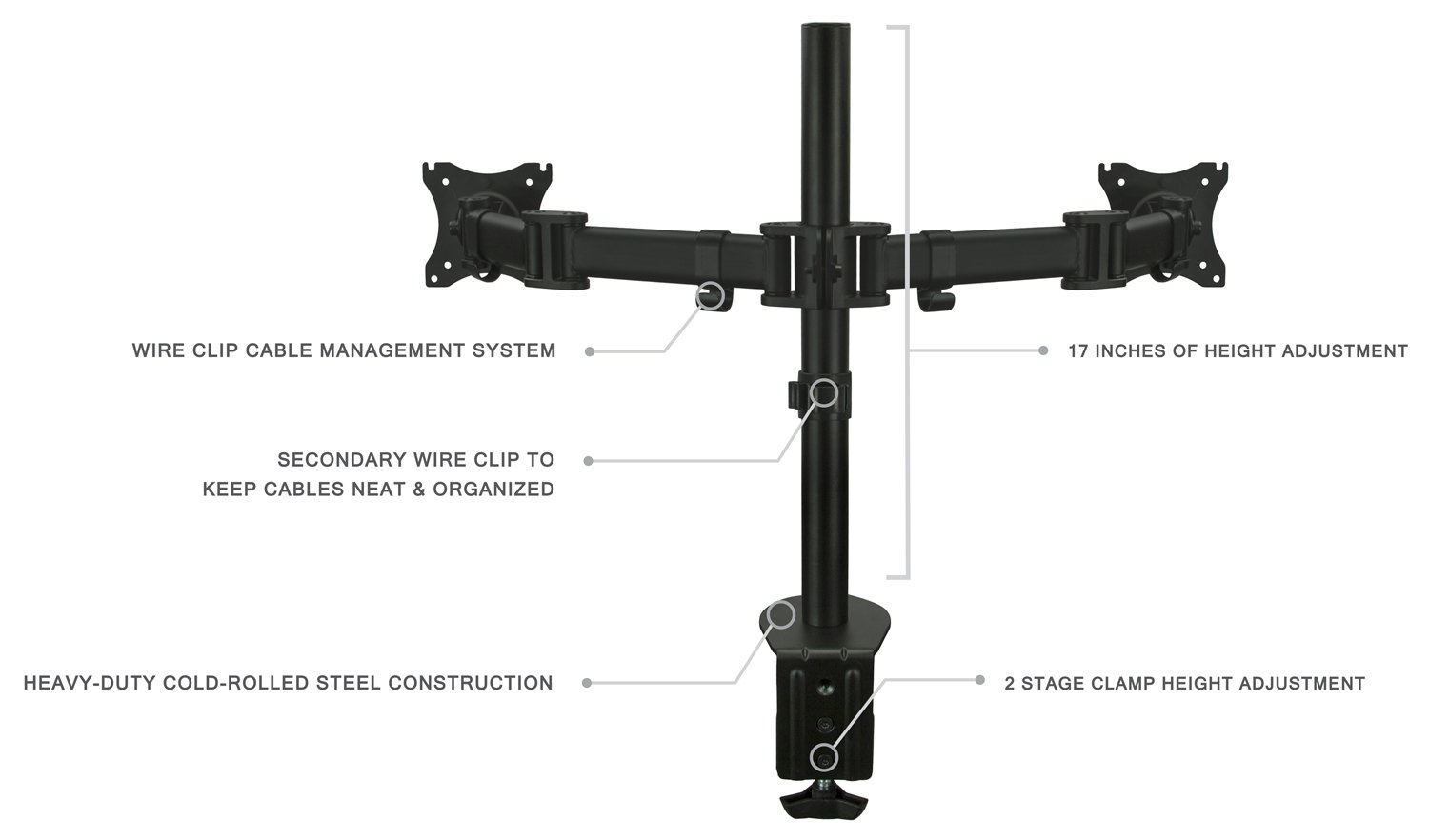 Amazon.com: Mount-It! Dual Monitor Mount Stand for 2 LED LCD Screens ...