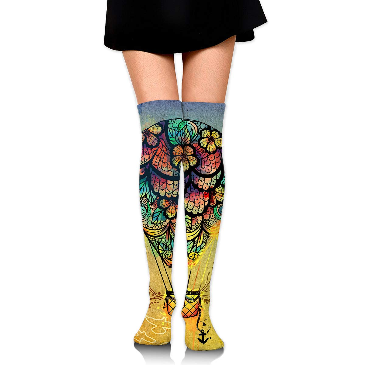 High Elasticity Girl Cotton Knee High Socks Uniform Hot Air Balloon Art Women Tube Socks