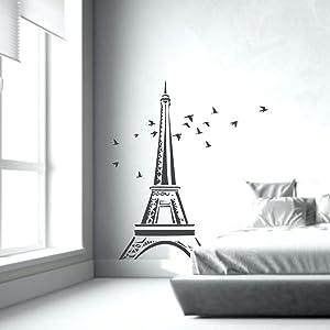 "Fabulous Décor - Eiffel Tower with Birds Romantic Paris Wall Art Premium Vinyl Decal Sticker 17.5"" W X 20.3"" H (Black)"
