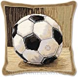 Handmade 100% Wool Needlepoint Designer Decorative Petitpoint Football Boy's Room Soccer Ball Toss Pillow. 12'' x 12''.