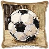 Handmade 100% Wool Needlepoint Designer Decorative Petitpoint Football Boy's Room Soccer Ball Toss Pillow. 12'' x 12''.