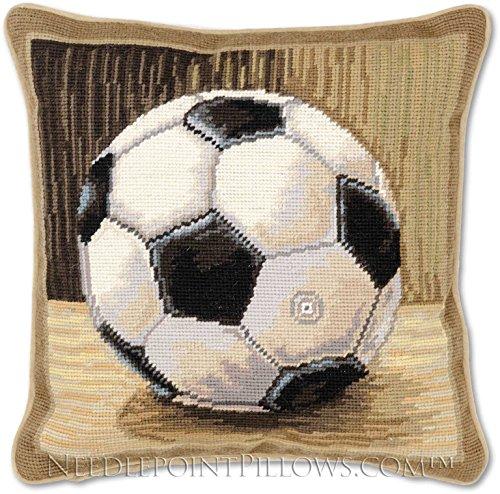 Handmade 100% Wool Needlepoint Designer Decorative Petitpoint Football Boy's Room Soccer Ball Toss Pillow. 12'' x 12''. by NeedlepointPillows.com