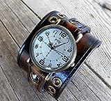 Unisex leather watch, Dark brown leather cuff, Bracelet watch, Leather watch cuff, Men's watch, Women's watch,