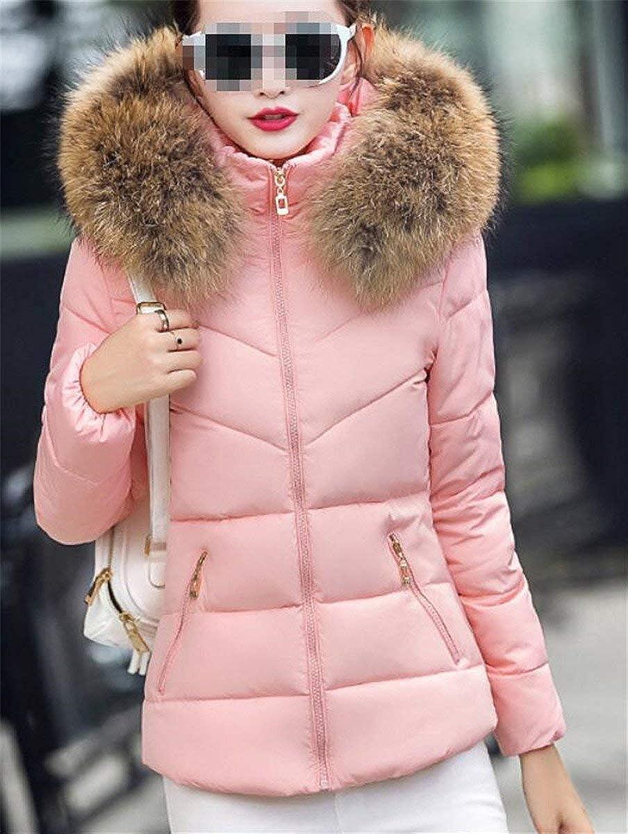 HX fashion Doudoune Femme Hiver Manches Longues Slim Fit Quilting Blouson avec Capuchon Fo Rose