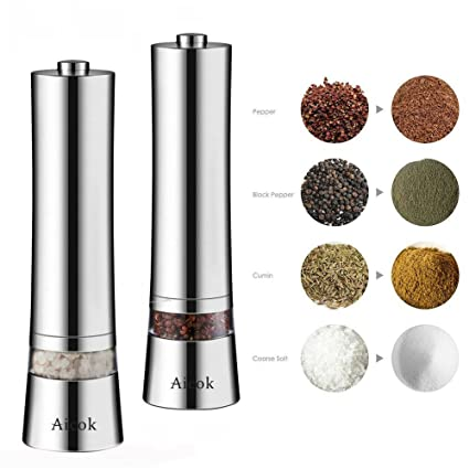 icok Stainless Steel Electronic Salt and Pepper Grinder
