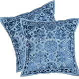 DK Homewares Ethnic Throw Pillow Shams Covers Blue Mirror Work Embroidered Cotton Square Cushion Covers Set Of 2 40 x 40 cm (16x16 Inch) By
