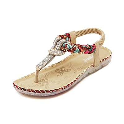 Hotchic Women Casual Bohemian Sandals Flower Weaving Shoes