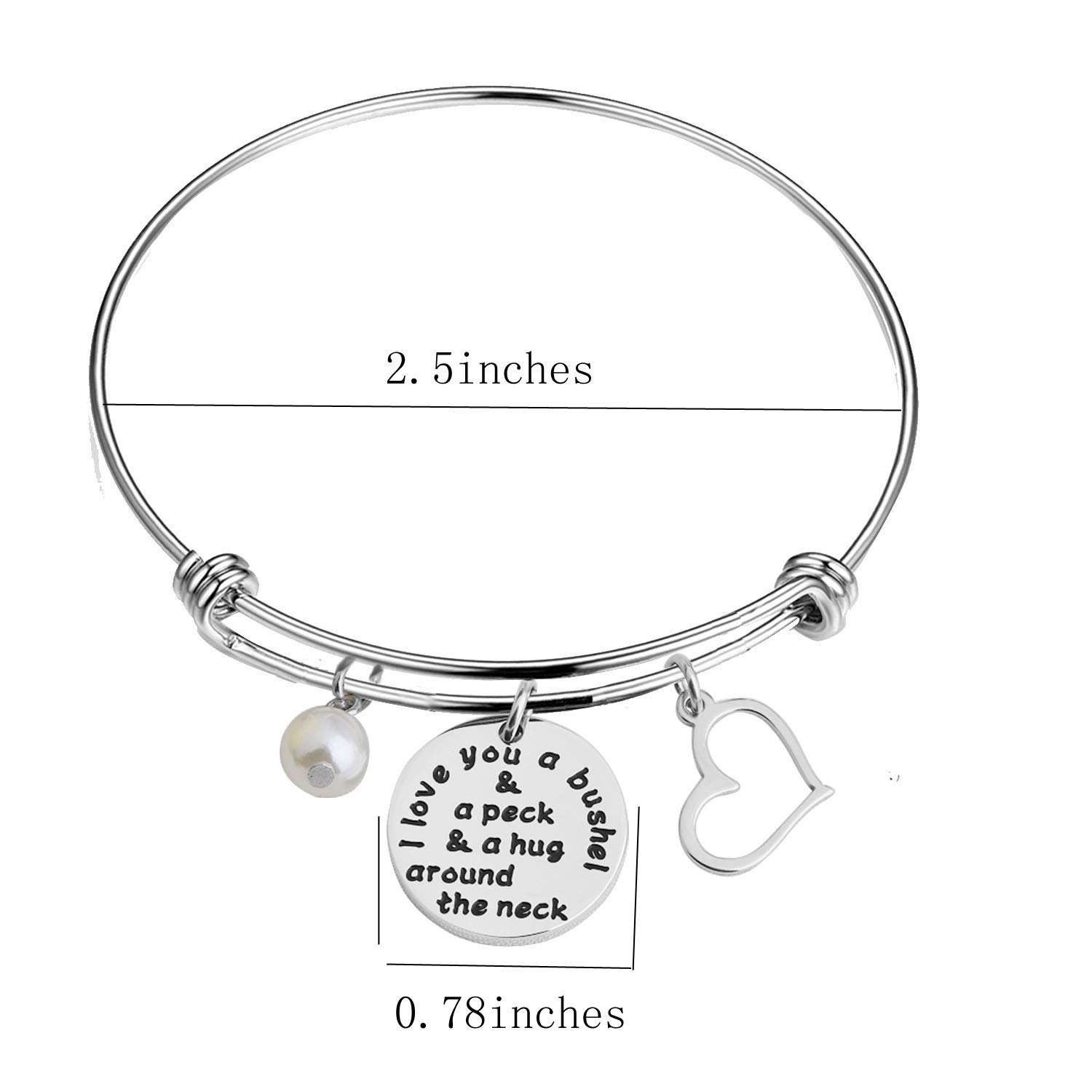 I Love You a Bushel and a Peck Mom Bracelet Grandmother Bracelet Mothers Day Jewelry
