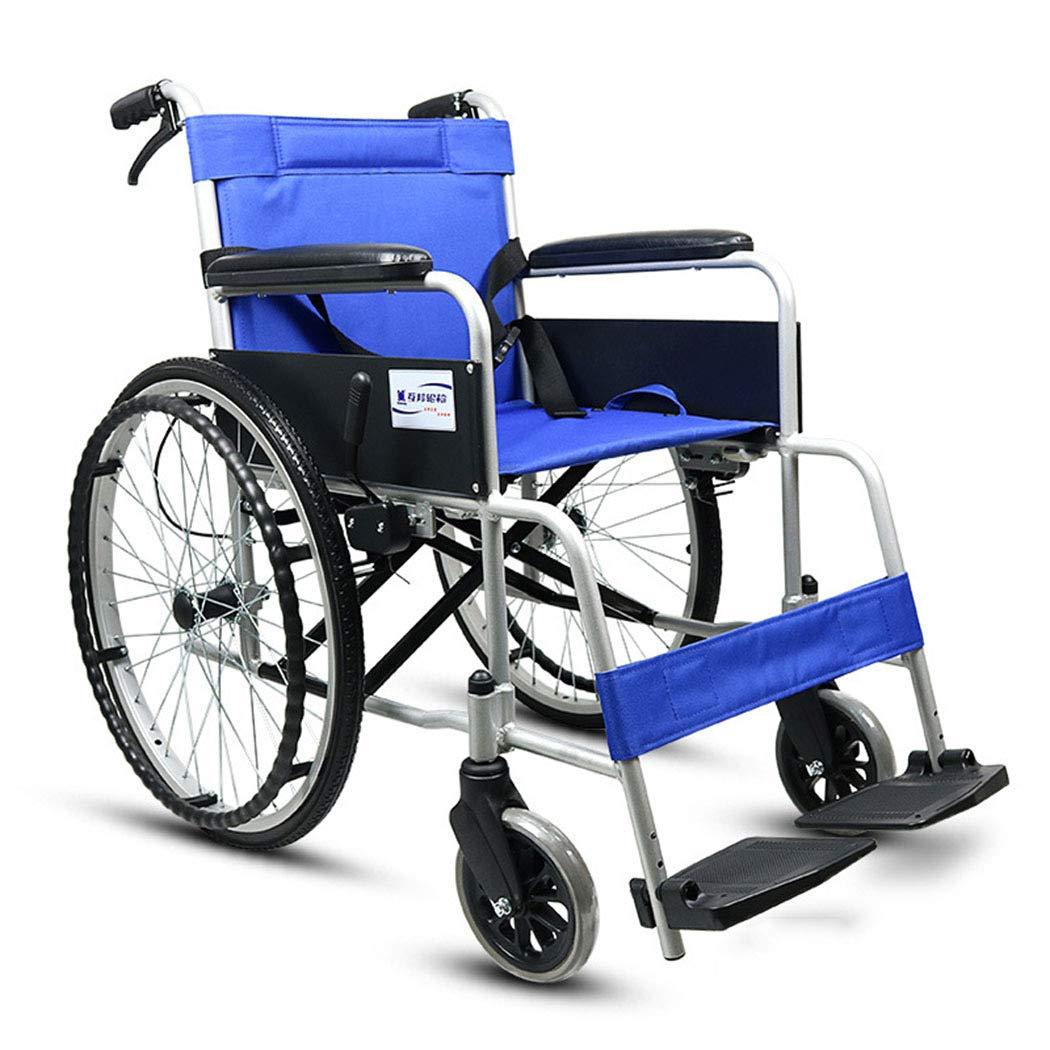 【初売り】 HSBAIS ドライブメディカルトランスポート車椅子軽量折りたたみ、頑丈なアルミ合金製のエレベイティングレッグは余分な快適性のために置かれます,blue_17