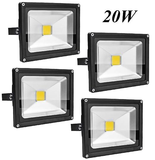 Leetop 4X 20W Foco LED Proyector de Luz Lámpara IP65 Impermeable Iluminación Interior y Exterior del jardín al aire libre, patio, terraza. Blanco Frio