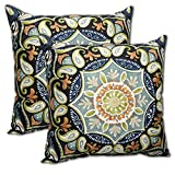 Set of 2 Indoor/Outdoor Throw Pillow 16'' x 16'' x 4'' in Polyester Fabric Sky Medallion by Comfort Classics Inc.