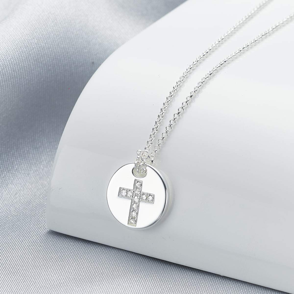 Personalised Girls First Holy Communion Angel of Mine White Topaz Cross Necklace Molly Brown London
