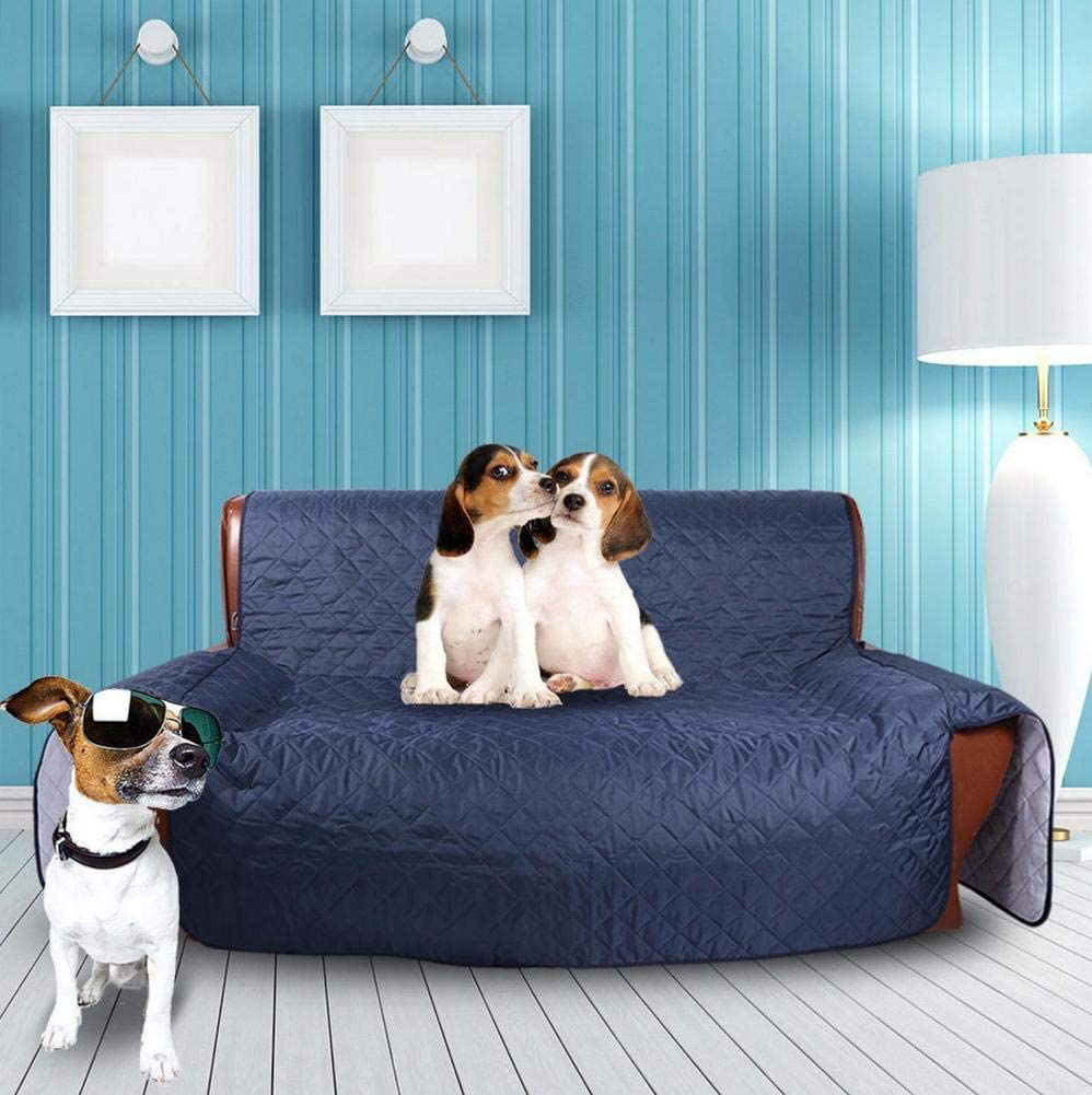 XUE STORE Couch Covers,Sofa Cover Waterproof for Pet Anti-Slip Foams Couch Shield Sofa Slipcover Quilted Furniture Protector Anti-Slip Sofa Covers for Dogs-Blue 53x183cm(21x72inch)