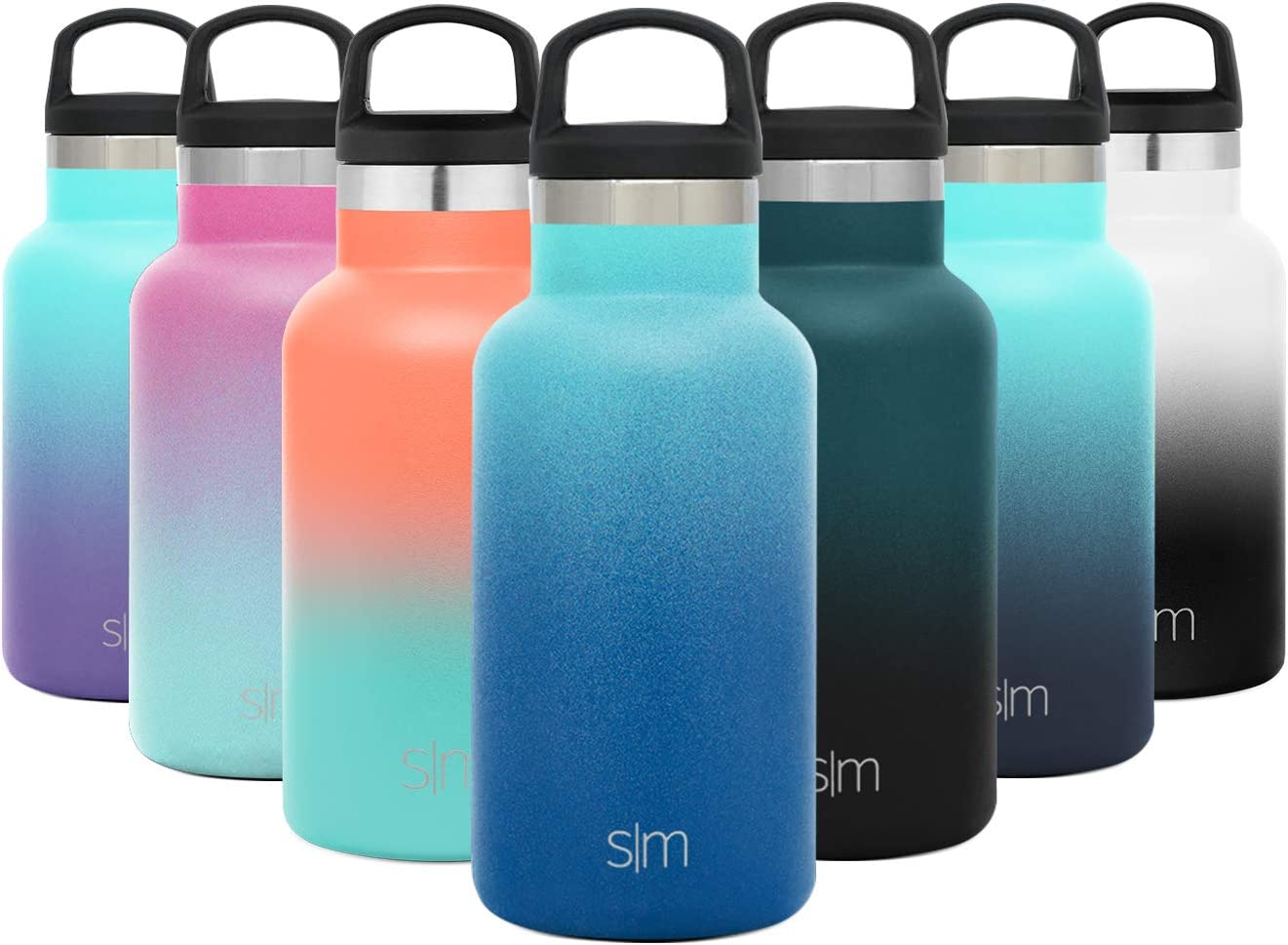 Simple Modern 12oz Ascent Water Bottle - Stainless Steel Hydro w/Handle Lid - Blue Double Wall Tumbler Flask Vacuum Insulated Small Reusable Metal Leakproof Kids Ombre: Pacific Dream