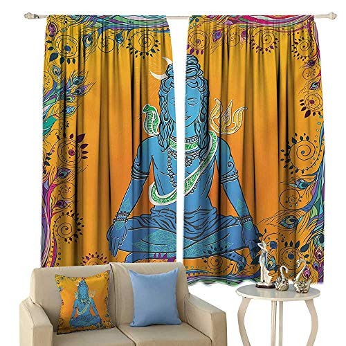 WinfreyDecor Light Luxury high-end Curtains Yoga Bohemian Ethnic Paisley and Peacock Feather Patterns Asian Figure and Cobra Mandala Darkening and Thermal Insulating -