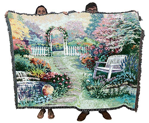 Pure Country Weavers | Loved One Garden Bench Tapestry Throw Blanket with Fringe Cotton USA 72x54 from Pure Country Weavers