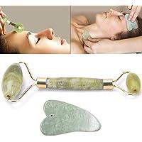 FANMURAN Guasha Facial con Rodillo de Jade Natural Conjunto de Herramientas de masajeador de Tablero Gua Sha Delgado + Cuerpo