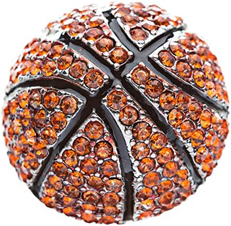 ACCESSORIESFOREVER Women Sport Basketball Crystal Rhinestone Stretch Ring Orange