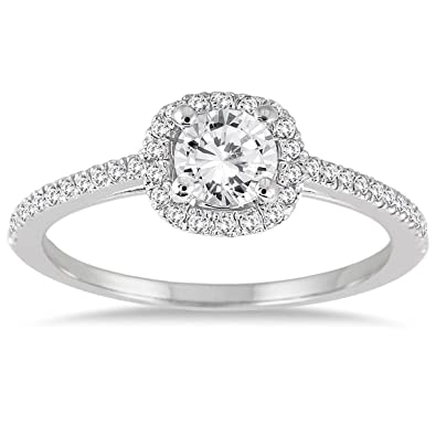 AGS Certified 3 4 Carat TW Diamond Halo Engagement Ring in 14K