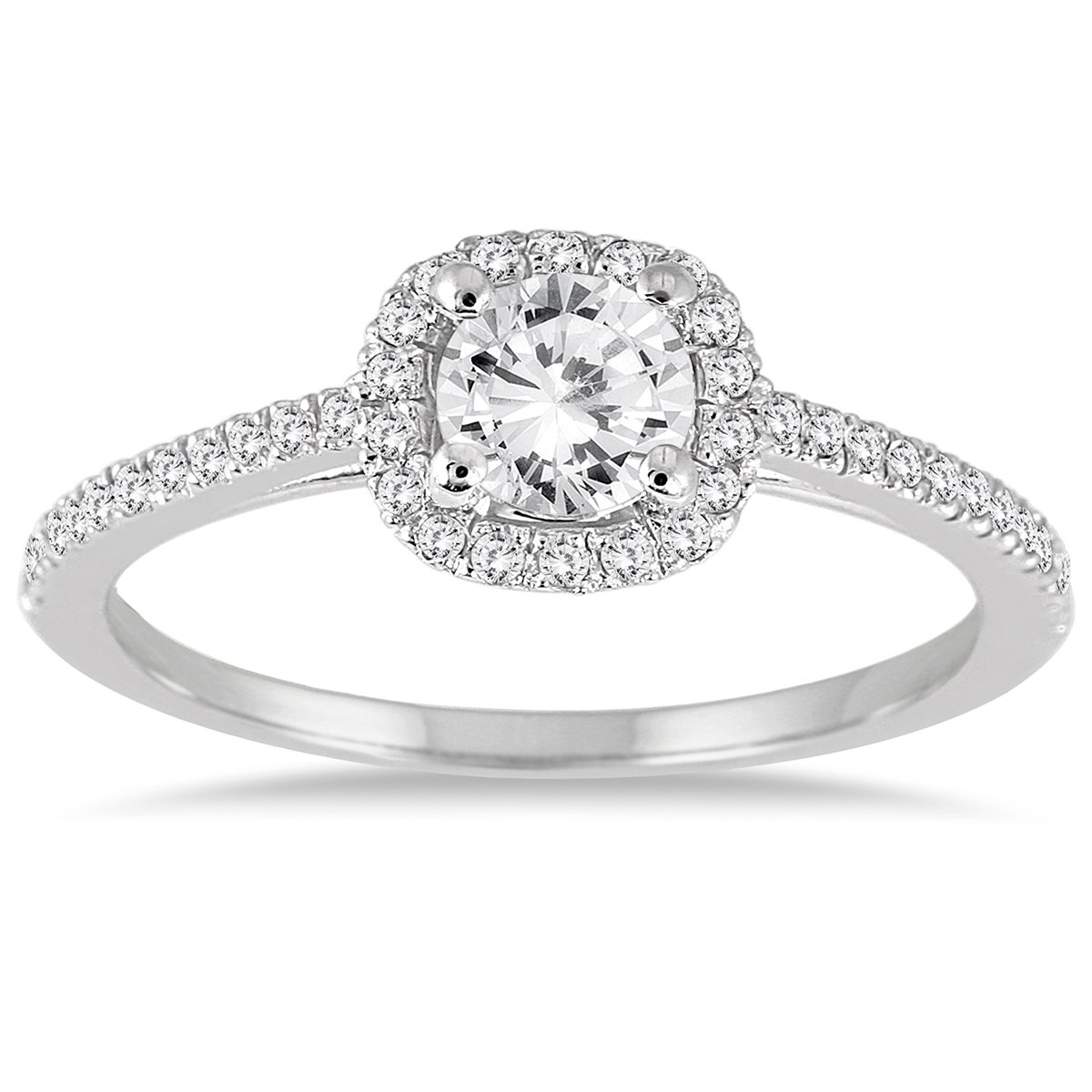 AGS Certified 3/4 Carat TW Diamond Halo Engagement Ring in 14K White Gold (K-L Color, I2-I3 Clarity)