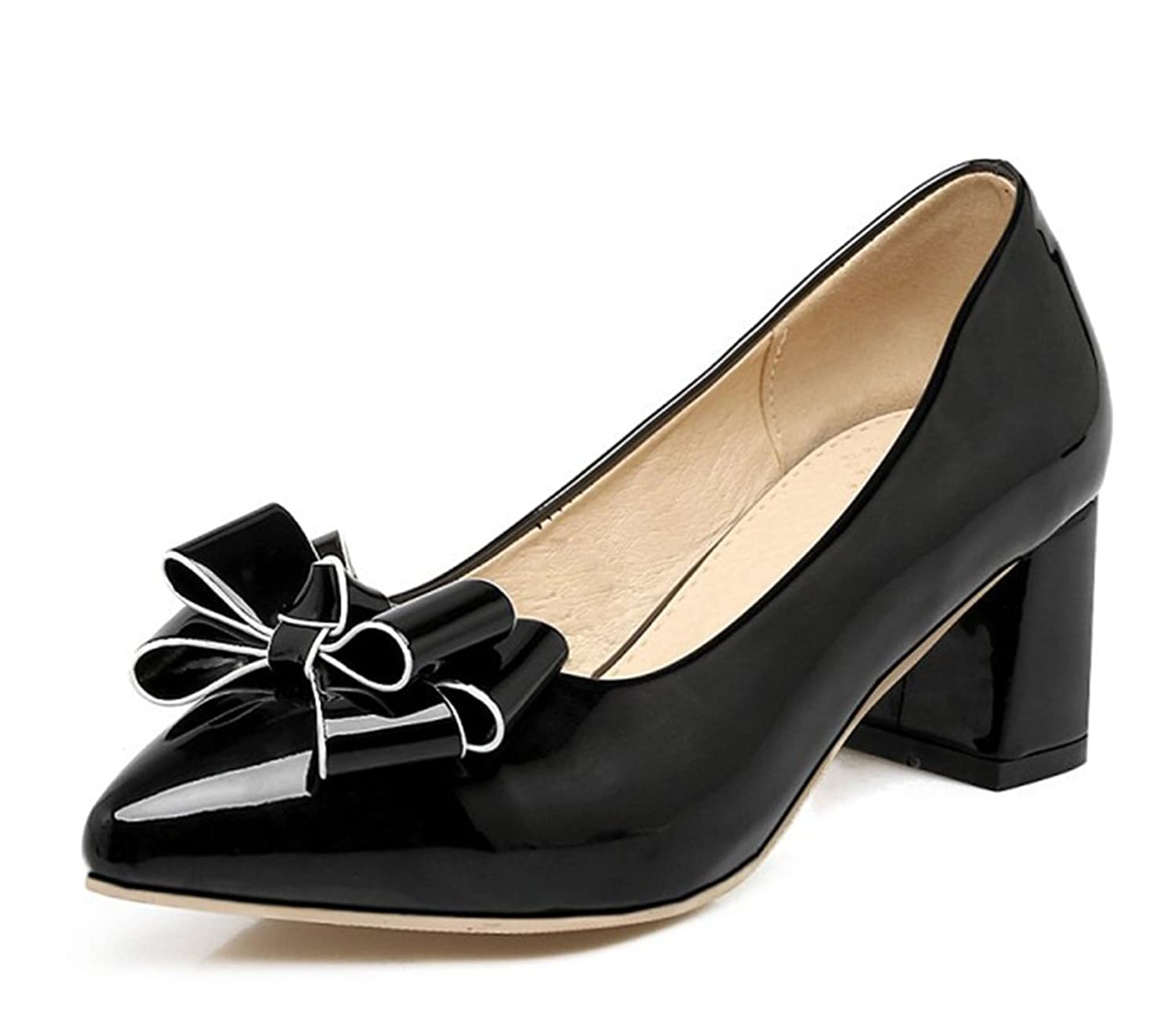 Aisun Women's Elegant Low Cut Pointed Toe Slip on Dress Stacked Medium Heels Pumps Shoes With Bows
