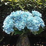 Soledì- 1 Mazzo di 7 Fiori Artificiali Ortensia, Fioritura in Seta, Bouquet Decorazione per Cerimonia Matrimonio Party Casa (Blu)
