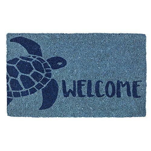 - Entryways Turtle, Hand-Stenciled, All-Natural Coconut Fiber Coir Doormat, 18
