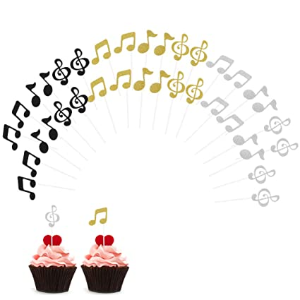 Amazon Wangyue Cupcake Topper Music Symbol Notes Decorations Party Supplies For Happy Birthday Cake 36Pcs Kitchen Dining