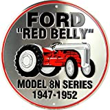 Ford Red Belly Model 8N Red Tractor Retro Vintage Die-Cut Round Tin Sign