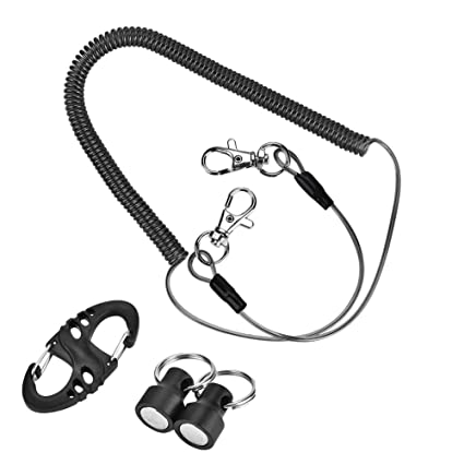 Amazon Com Fishing Coiled Lanyard Stainless Steel Quick Release