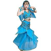 Anguang Maxi Jupe Danse du Ventre Costume Enfants Filles Carnaval Paillettes Ensemble Set