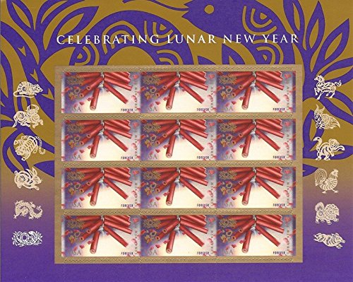 Year of the Snake: Firecrackers (Celebrating Lunar New Year), Full Sheet of 12 x Forever Postage Stamps, USA 2013 , Scott 4726