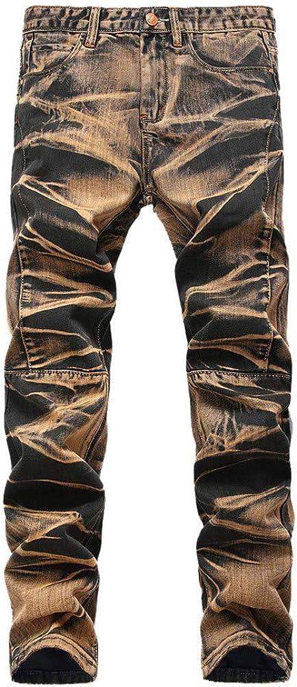 MODOQO Jeans for Men,Simple Fashion Solid Color Baggy Stretch Distressed Capri Pants