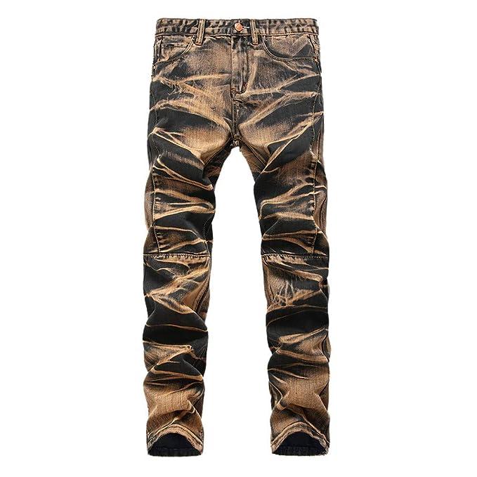 beautyjourney Vaqueros Retro de los Hombres, Pantalones de ...
