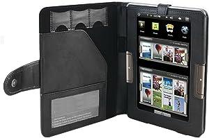 Navitech Genuine Black Napa Leather Flip Case for Archos 70b eReader, Black