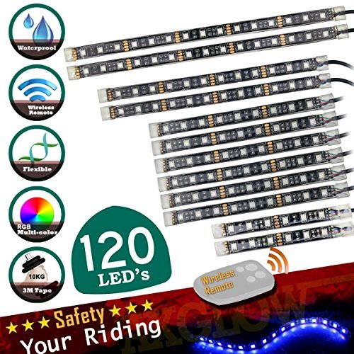 (SCREAMFOX 12PCS Motorcycle LED Light Kit   Multi-Color Accent Glow Neon Strips for Cruisers 120 SMD LED lights with 1 PCS Remote Controller)