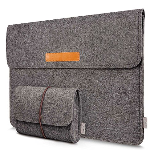 Inateck Felt 15 -15.4 Inch Retina MacBook Pro Sleeve Case Ultrabook Netbook Bag with Pocket - Dark Gray