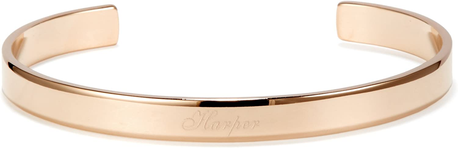 B076DHSBXP Custom Engraved Cuff Bracelet (5 1/5 inches Long; Silver Plated, Gold Plated, Rose Gold Plated) 41R2XY-n75L