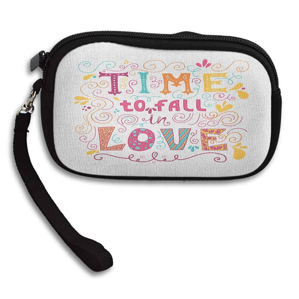 Romantic Wallet Time to Fall in Love Inspirational Valentines Quote with Colors and Floral Design W 5.9x L 3.7 Multi-functional Ladies Makeup Bag