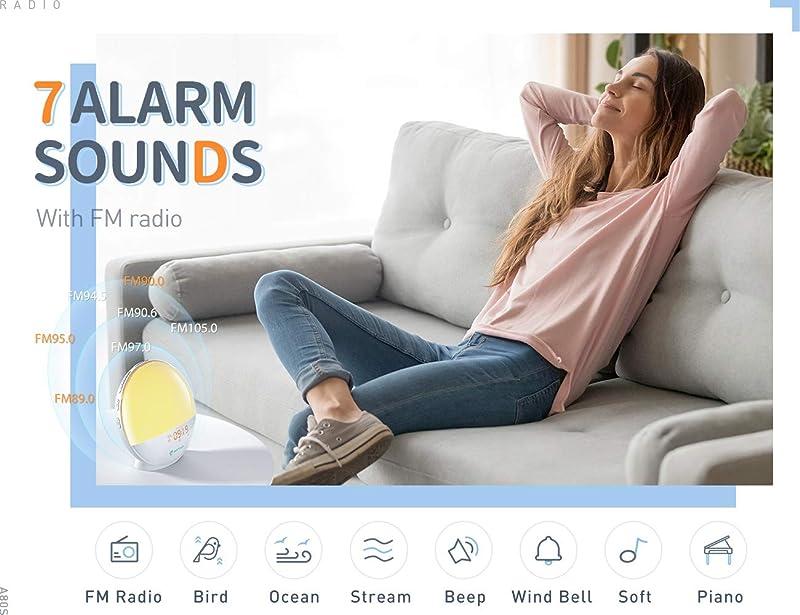 heimvision Sunrise Alarm Clock, Smart Wake up Light Work with Alexa, Sleep Aid Digital Alarm Clock with Sunset Simulation, Snooze/FM Radio /7 Natural Sounds...