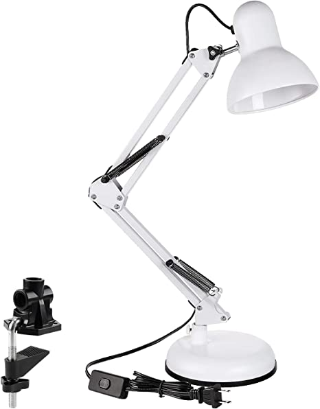 Interchangeable Base Or Clamp Classic Clip On Metal Desk Lamps Swing Arm Lamp