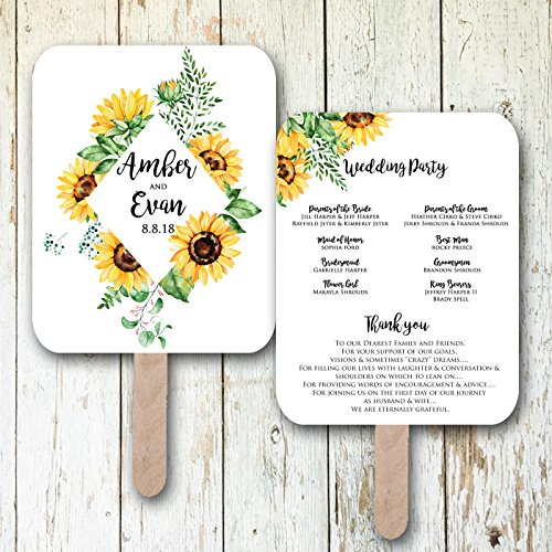 Sunflower wedding fans, wedding programs, wedding program fans,wedding favors, rustic wedding fans, wedding fans personalized, wedding fan favors, Sold in sets of 10 -