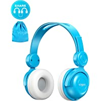Kids Headphones with Pouch, Vogek Wired On-Ear Child Headset with Mic, HD Sound Sharing Function and 85dB Volume Limited Hearing Protection for Phone Tablet PC Kindle (Blue)