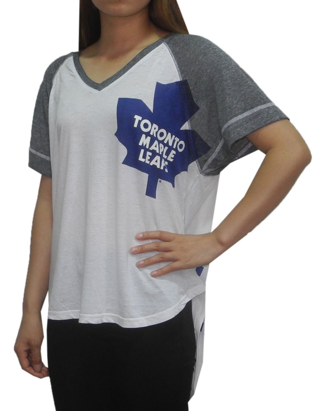 NHL Womens TORONTO MAPLE LEAFS: Athletic Loose Fit V-Neck T Shirt