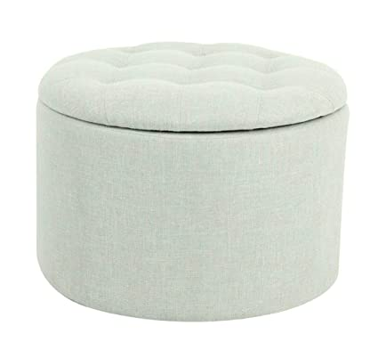 Magnificent Ravenna Home Justin Round Tufted Storage Pouf Ottoman Bench 24W Seafoam Green Machost Co Dining Chair Design Ideas Machostcouk