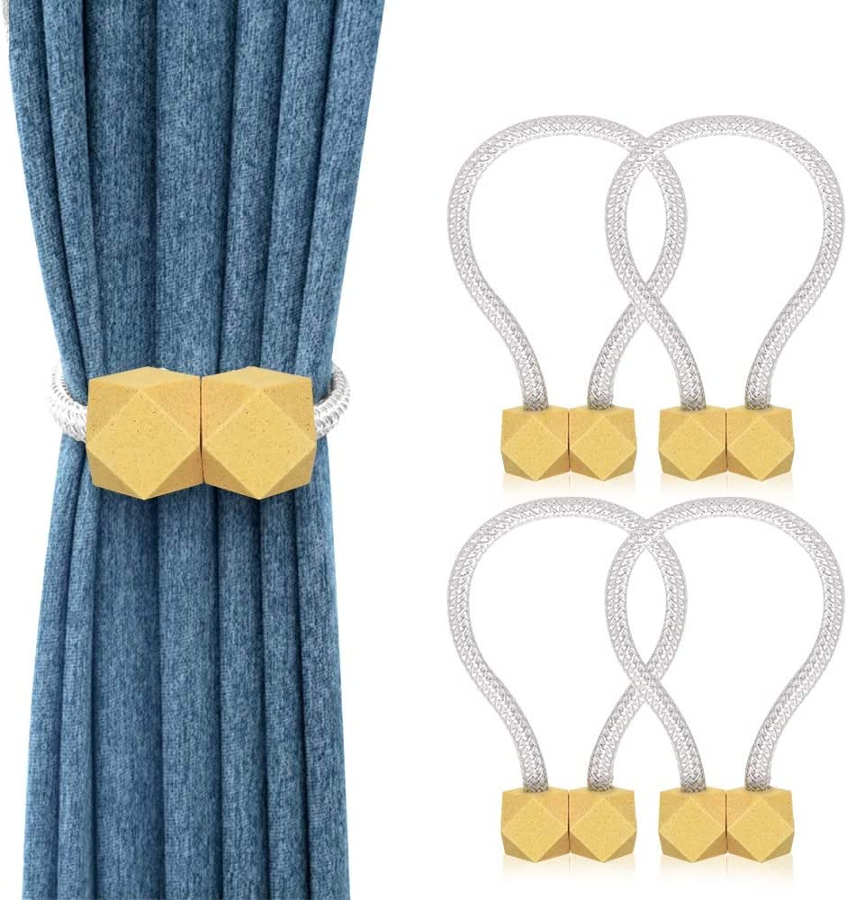 PiAEK 4 Pack Magnetic Curtain Tiebacks Decorative Window Curtain Holdback Rope Convenient Curtains Tie Backs Super-Strong Magnet Curtain Holder Clips Home Office Decor (Gold)