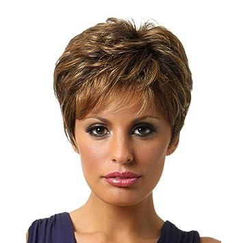 SHKY Pelucas de cabeza llena Peluca de pelo corto Rubio marrón Pelucas de alta calidad de